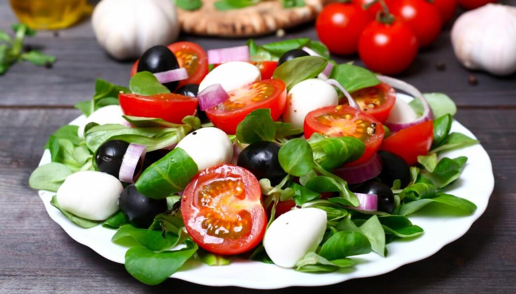 Forskerne lagde deiger av ingredienser fra middelhavskost og vestlig kost. Det apene spiste så altså ikke like delikat ut som den greske salaten på bildet.