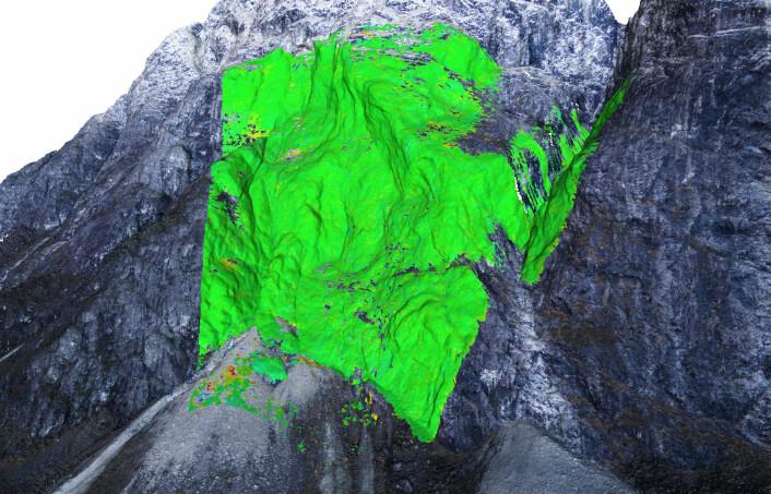 Den grå 3D-modellen er laget ut fra foto tatt fra drone. De fargede feltene viser radarmålinger av bevegelser i berget. Gult og rødt markerer steder der det er opp mot fire millimeter forflytninger (rødt) i løpet av ett år. (Foto: (Bilde: NGI, Creative Commons navngivelse))
