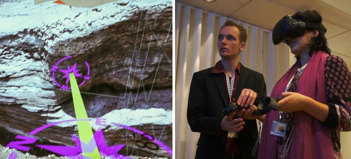 VR-lasersverd mot lagdelt stein: En geolog ser seg rundt i et 3D-skannet landskap og markerer bruddflater med håndkontrollen, veiledet av Gabrile Lanzer Kannenberg fra Advanced Visualization Laboratory i Brasil. (Foto: Arnfinn Christensen, forskning.no)