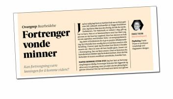 """""""Kan fortrengning være løsningen for å komme videre?"""" spør Frode Thuen i A-magasinet.  (Faksimile: A-magasinet)"""