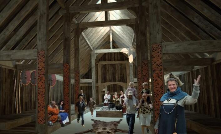 Skal kongehallen egentlig kalkes hvit innendørs for å møte vikingtidens standarder? (Foto: Sagnlandet Lejre)