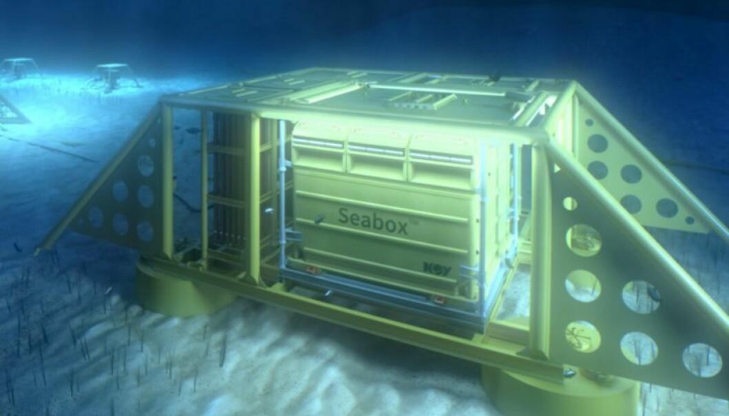 Dette er en illustrasjon av boksen som kan avsalte sjøvann på havbunnen, som er utviklet av firmaet Seabox. Boksen kan gi mer lønnsom oljeutvinning. Bedriften har fått forskningsmidler fra Forskningsrådet for å få teknologien på markedet. Nå lover Tord Lien mer til slike tiltak.  (Illustrasjon: Seabox)