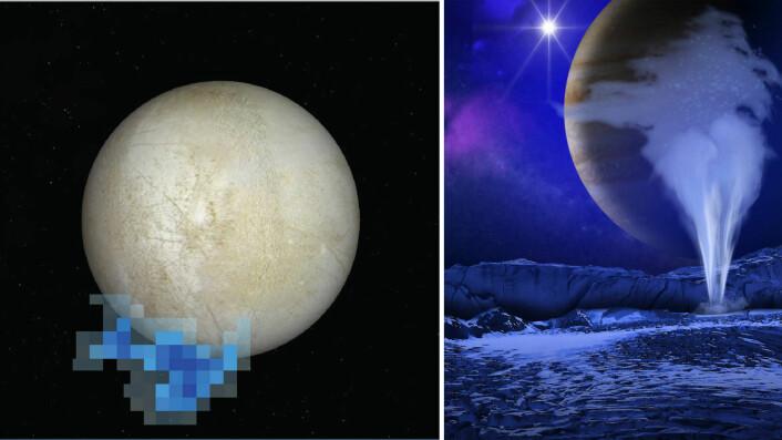 Til venstre: De blå feltene viser hvor Hubble-teleskopet så utslipp av vanndamp over Europas sydpol i 2012. Til høyre: Artistens inntrykk av hvordan et utslipp av vanndamp på Europa kan arte seg. (Foto: (Bilder: NASA/ESA/L. Roth/SWRI/University of Cologne (Hubble-grafikk), NASA/ESA/K. Retherford/SWRI (illustrasjon)))
