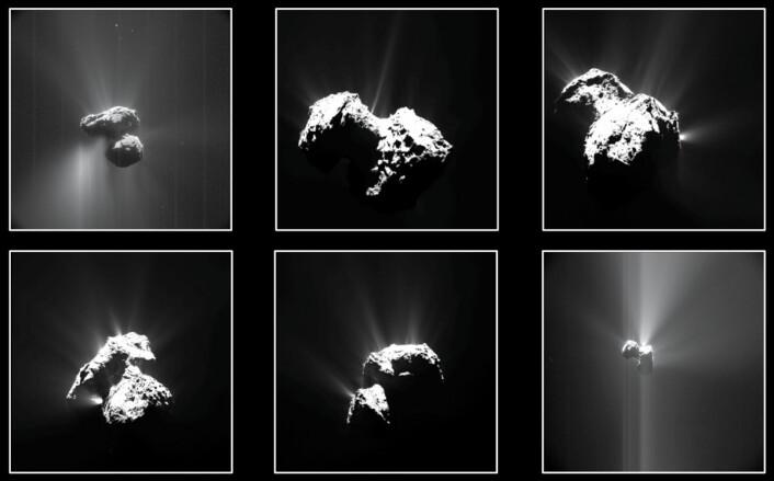 Seks av de mest lyssterke utbruddene på komet 67P fotografert fra Rosetta mellom juli og september 2015. (Foto: OSIRIS: ESA/Rosetta/MPS for OSIRIS Team MPS/UPD/LAM/IAA/SSO/INTA/UPM/DASP/IDA; NavCam: ESA/Rosetta/NavCam – CC BY-SA IGO 3.0)