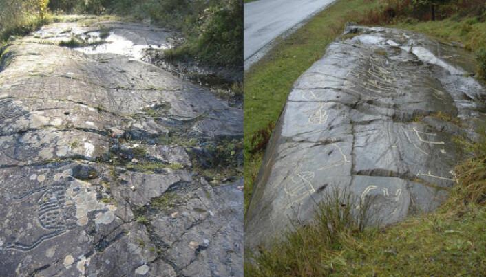 Bergkunstfelt i Holtås, Levanger kommune før tildekkingen i 2004, og samme bergflate etter regelmessig tildekking og etanolbehandling over flere år. (Foto: Roar Sæterhaug , NTNU Vitenskapsmuseet 2004 og Eva Lindgaard, NTNU Vitenskapsmuseet 2011)