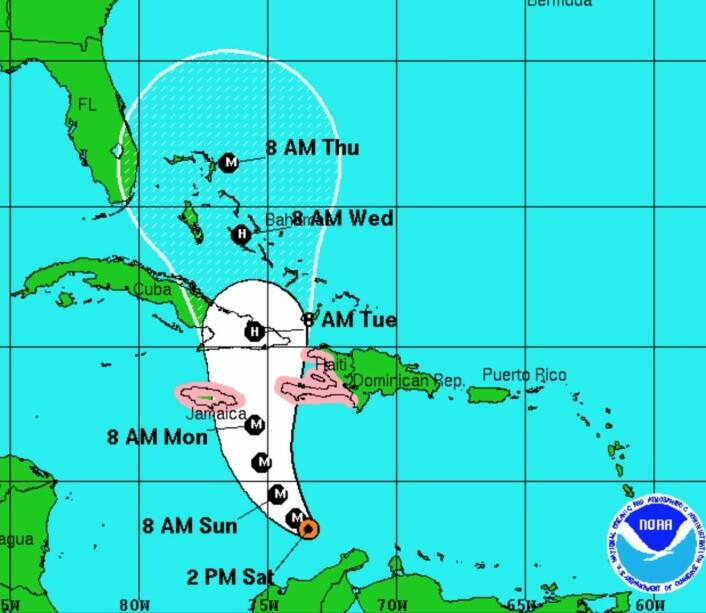 """Slik er prognosen for """"Matthew"""", som er en meget sterk orkan. (Bilde: NOAA)"""