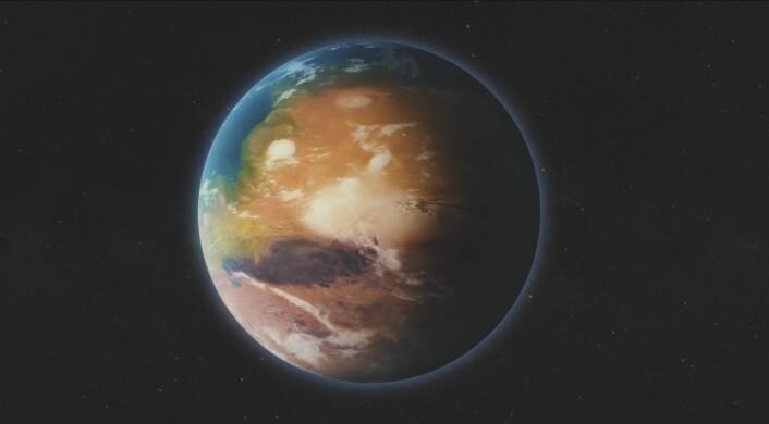 Slik ser Elon Musk for seg Mars som en terraformet planet, med grønn vegetasjon og hav. (Foto: Skjermdump/SpaceX)