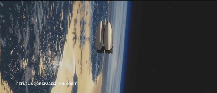 Slik ser SpaceX for seg at romskipet vil tanke i bane rundt jorden, før selve ferden til Mars. (Foto: (Bilde: SpaceX/Skjermdump))