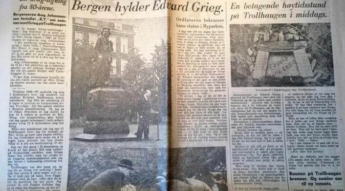 Bergens Tidende 15. juni 1943, då ein feira 100-års jubileet for Edvard Grieg sin fødselsdag. (Foto: (Faksimile frå Bergens Tidende))