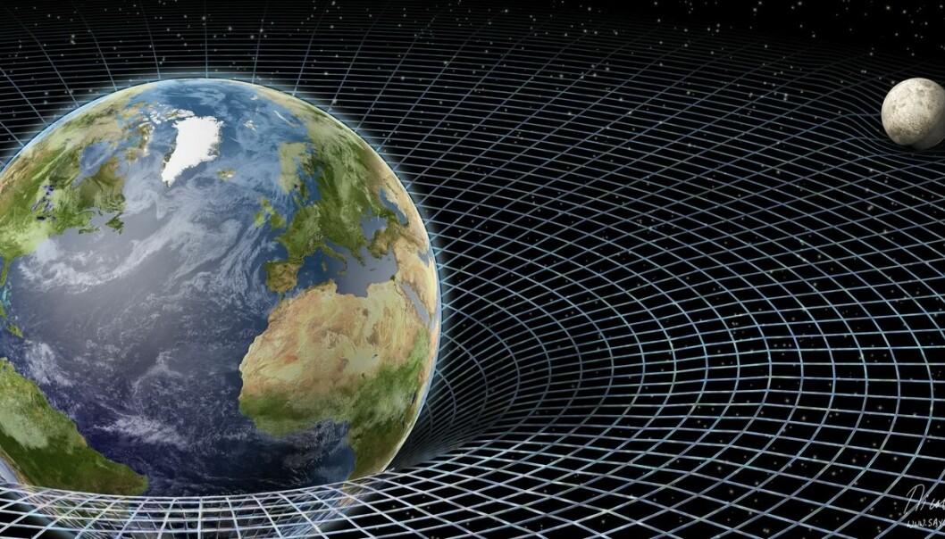 Jorda og månen i romtiden, slik en illustratør ser det. (Illustrasjon: Science Photo Library/NTB scanpix)