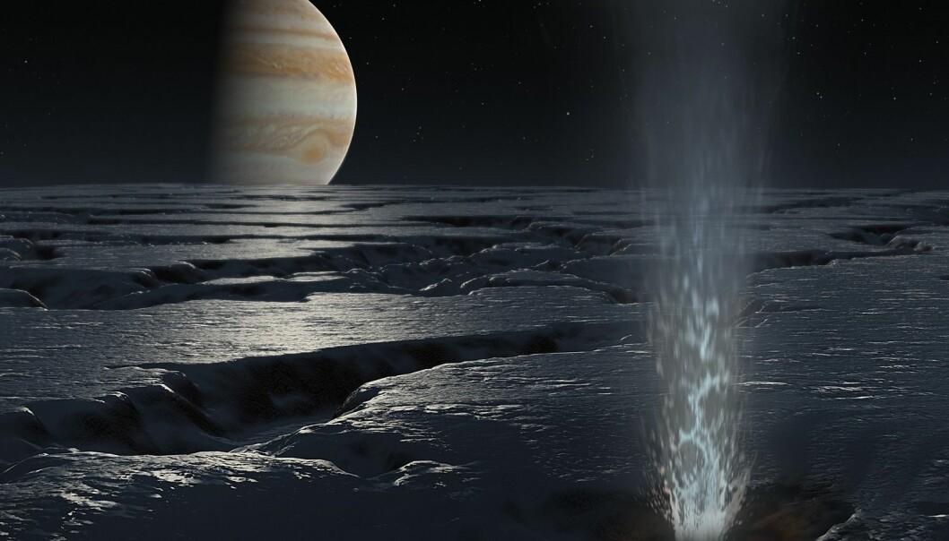 Slik har en kunstner sett for seg at is-geysirene på Europa kan se ut. Overflaten er ekstremt fiendtlig for mennesker, med ekstremt mye stråling fra Jupiter og temperaturer under -160 grader.  (Bilde: Science Photo Library/NTB Scanpix)