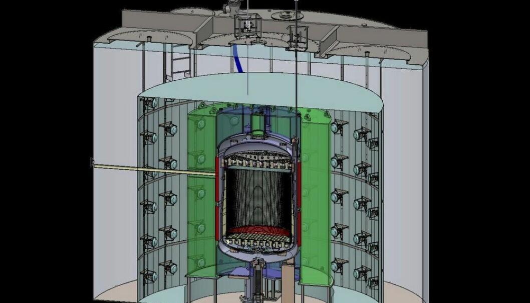 Slik skal LUX-ZEPLIN-detektoren se ut. Tanken i midten skal fylles med ti tonn flytende xenon. Rundt finnes måleutstyr som kan plukke opp små lysglimt - vitner om at kjernen i et av xenonatomene er truffet av noe. Kanskje en partikkel av mørk materie.  (Illustrasjon: Matt Hoff/Berkeley Lab)