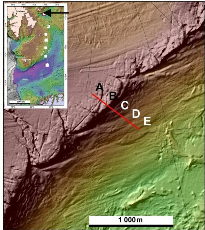 Fig. 1. Multistrålebatymetrien viser fjellryggen med sørvestlig - nordøstlig retning. Rødbrun farge viser de grunneste områdene på rundt 192 m vanndyp. (Foto: (Kart: Mareano / Havforskningsinstituttet))