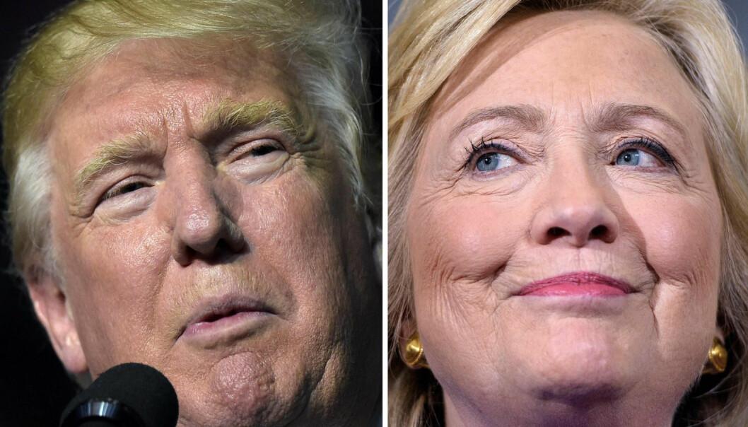 26. september barker Donald Trump og Hillary Clinton sammen i den første TV-debatten i denne valgkampen. Oddsen er at mange kommer til å twitre om hendelsen mens de ser på. Det er kanskje ikke bare lurt?  (Foto: AFP PHOTO / NTB Scanpix)