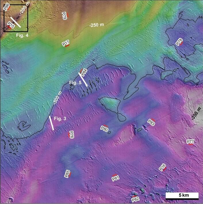 Figur 2: Detaljerte dybdedata i boks 7. TOPAS-linjer er vist med svart strek, mens hvite linjer viser TOPAS-profiler vist i figur 3-4. (Foto: (Kart: Mareano/Havforskningsinstituttet))