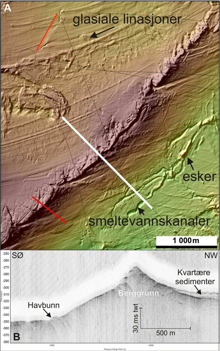 Figur 4. A) Multistråledata med videolinjer i rødt, TOPAS-profiler i svart og TOPAS profilen i figur B i hvitt. Fargeskalen er den samme som på Figur 2. B) På TOPAS-profilen ser vi berggrunnsryggen i den nordvestlige delen av boks 7. (Foto: (Kilde: Mareano/Havforskningsinstituttet))