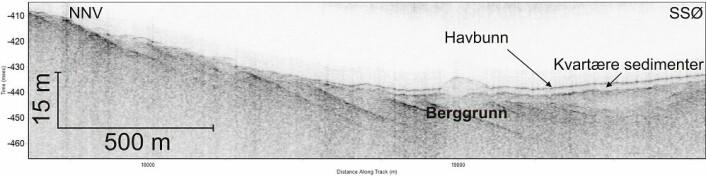 Figur 3. TOPAS-profil som viser skråstilte lag av sedimentære bergarter. Over disse skrålagene ligger det et tynt dekke av løsmasser. (Foto: (Kilde: Mareano / Havforskningsinstituttet))