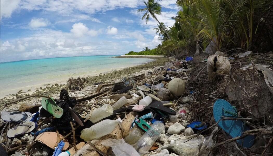 Sko, flasker og annet plastsøppel som ligger på en av strendene på Kokosøyene. Dette er Direction-øya. (Bilde: Silke Stuckenbrook)