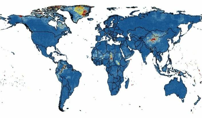 Plasseringen av de nye klimaregimene siden begynnelsen av 1900-tallet. Viktige endringer i tropene og på Grønland er visst i gul og rød skravering. Rød skravering indikerer de største endringene. (Foto: (Illustrasjon: Alejandro Ordonez))