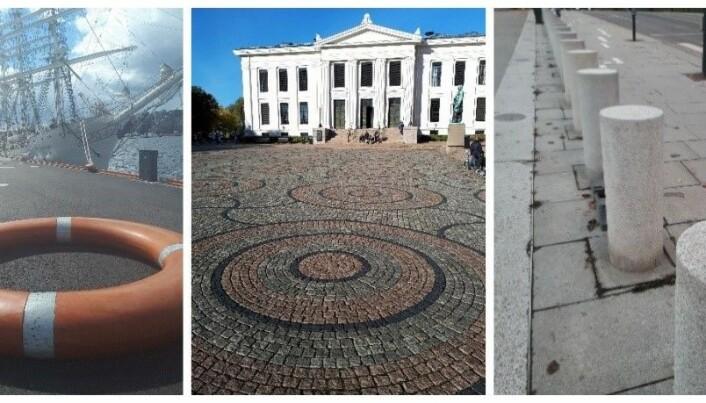 Bilde 1 fra venstre: Livbøye på Havnepromenaden, sirkler på universitetsplassen (bilde 2) og granittsøyler på Karl Johans gate (bilde 3). (Foto: Nils Frederik Buchholtz).