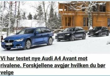 Faksimilen viser den redaksjonelle artikkelen fra Dagbladet 17. april som ble undersøkt. Leserne trodde saken var like påvirket av kommersiell aktør (Audi) som Remas betalte annonsørinnhold på VG. (Foto: (Skjermdump: SIFO-rapport))