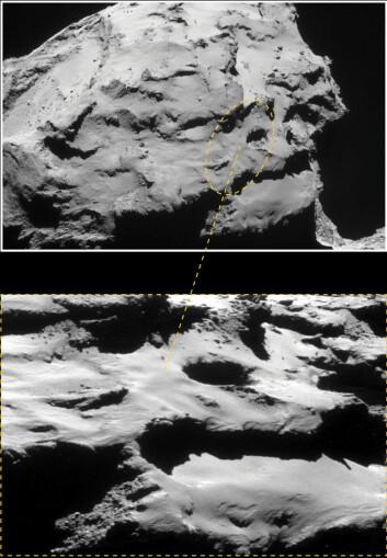 Bildet viser området der Rosetta skal havarere mot komet 67P/Churyumov–Gerasimenko den 30. september 2016. Den gule ellipsen markerer omtrent hvor sonden vil treffe, i et område med 60 meter dype og 100 meter brede groper der støv strømmer ut og danner kometens hale. (Foto: ESA/Rosetta/NavCam – CC BY-SA IGO 3.0)