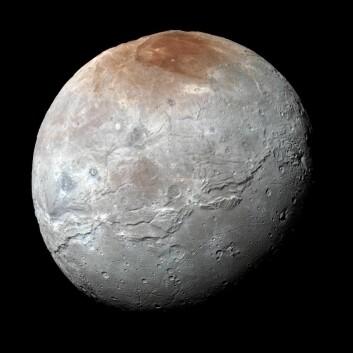 Dette bildet med tydeliggjorte fargeforskjeller viser Plutos måne Charon tatt fra New Horizons like før nærmeste passering den 14. juli 2015. Det røde området ved nordpolen er tydelig. (Foto: NASA/JHUAPL/SwRI)