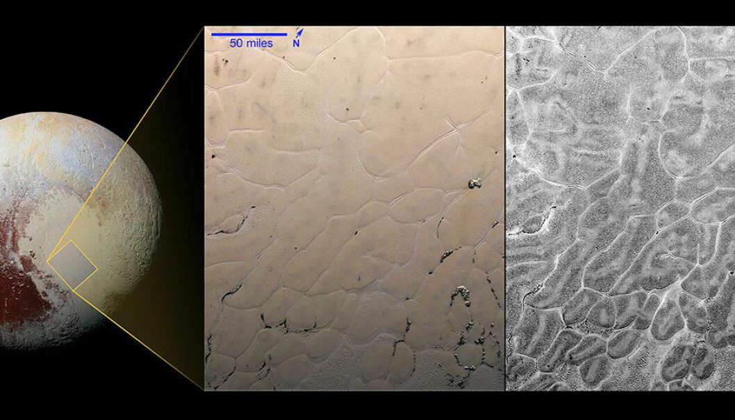 Sputnik planum er det store, lyse området på Pluto. Når forskerne ser nærmere etter, dekkes is-sletten av intrikate mønstre. Sletten skjuler også en diger forsenkning som er fylt av en enorm isbre. Isbreen er hovedsakelig laget av nitrogen-is, metan og karbonmonoksid.  (Bilde: NASA)