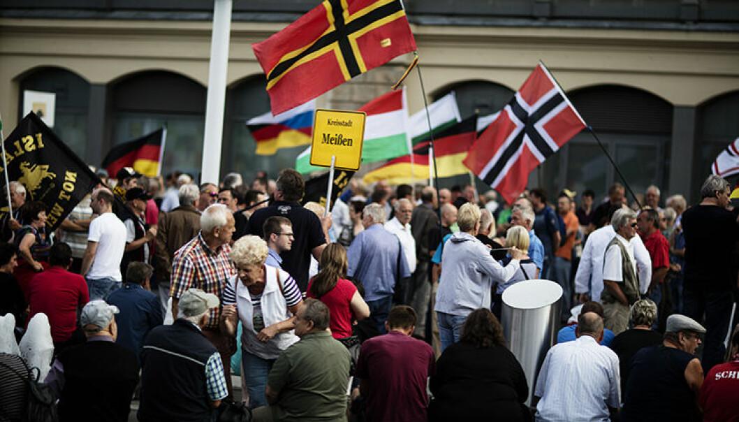 Verdier som toleranse, håp og rettferdigheter er på vikende front i Europa. Samtidig har bevegelser som PEGIDA (Patriotiske europeere mot islamifisering av Vesten) blitt mer stuerene. Her fra Dresden 2016.  (Foto: NTB/ Scanpix)