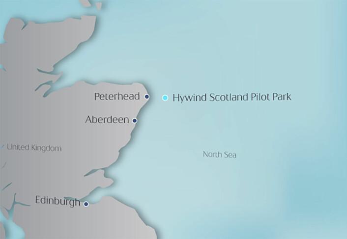 Her – utenfor nordøstkysten av Skottland – skal Statoil anlegge verdens første vindpark med flytende vindmøller – Hywind Scotland Pilot Park. (Foto: Figur: Statoil))