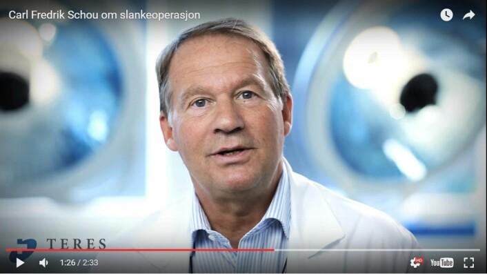 Kirurg Carl Fredrik Schou på Aleris-klinikken i Oslo, tidligere Teres, var medforfatter på fedmeartiklene. Han kan ikke si sikkert hva som virket i behandlingen, til tross for at studien gir en tydelig konklusjon. (Foto: stillbilde fra video, Aleris-klinikken)