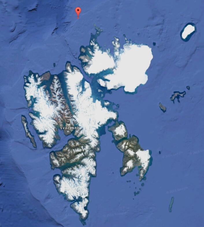 Havforskerne måtte langt nord for å finne grønlandssel. (Foto: (Kart: Googlemaps))