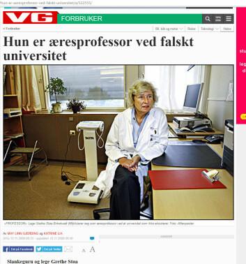 VG skrev om Grethe Støa Birketvedts falske æresdoktorat i 2008. (Foto: (Faksimile fra VG, 13.11.2008.))