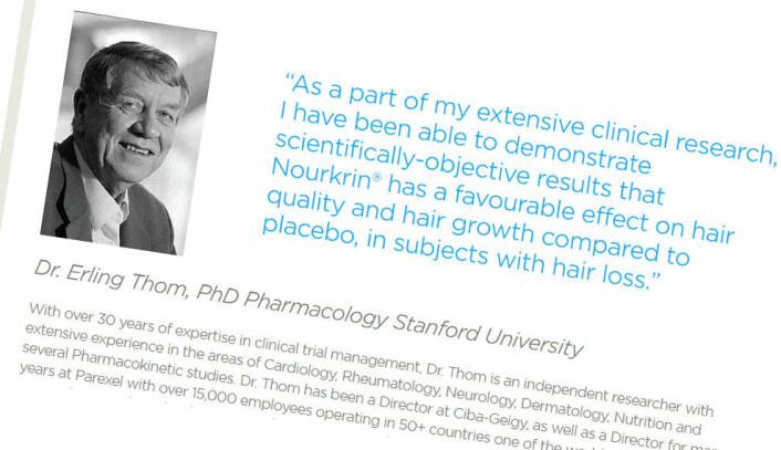Faksimile av nettsidene om hårproduktet Nourkrin - et av midlene Thom har forsket på. Her lover han potensielle kunder vitenskapelig dokumentert effekt. (Foto: (Faksimile fra nettsidene til Pharma Medico))