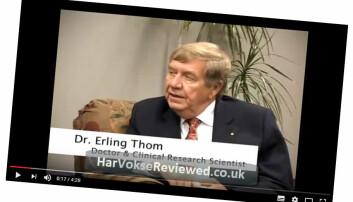 Faksimile fra YouTube: Erling Thom promoterer produktet HarVokse, som skal bedre hårveksten.  (Videoen tilhører HarVokseClinic.com.)