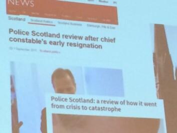 BBC har omtalt politireformen i Skottland, som har ført til at politisjefer har sagt opp jobben i protest. (Foto: (Foto av foredrag av Nick Fyfe))