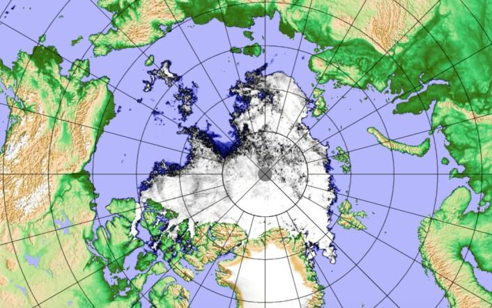 Sjøisen i Arktis er nær sitt laveste nivå for året nå. Noen rekord blir det altså ikke. (Bilde: Univ Bremen med målinger fra JAXA)