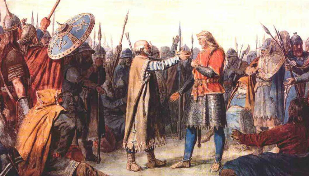 Kroningen av en av dine forfedre, Olav Tryggvason. For, ja, du er også i slekt med ham.  (Malt av Peter Nicolai Arbo (1831-1892))