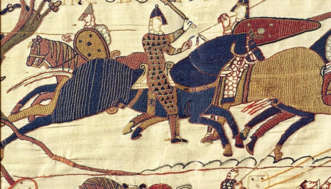Bayeux-teppet forteller om slaget ved Hastings i 1066, da Vilhelm Erobreren fra Normandie drepte kong Harold og dermed ble konge av England. Vilhelm Erobreren snakket fransk, som i en periode ble det offisielle språket i England.  (Foto: Dennis Jarvis, Flickr CC 2.0)