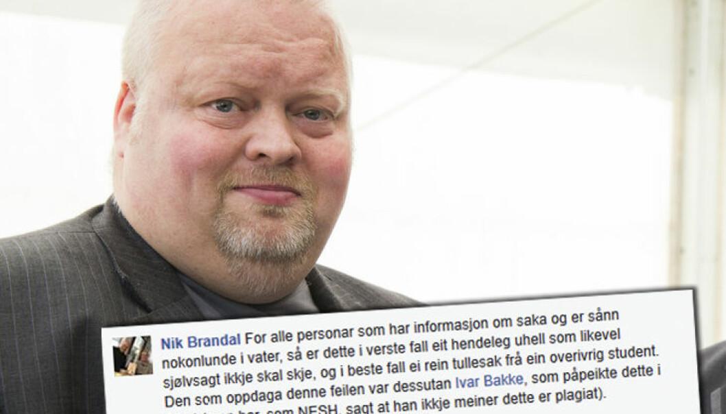 Nik. Brandal var i debatt på Facebook i etterkant av forskning.nos omtale av plagiatsaken mot Nina Witoszek. (Foto: Berit Roald / NTB scanpix. Innfelt: Skjermbilde fra Facebook)