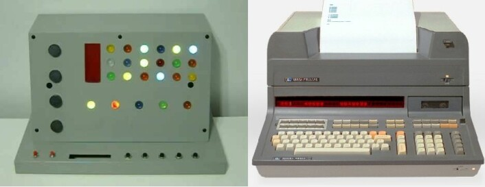 Her er en kopi av de første PCene fra Star Trek, og av en HP 9800-serie som var en av de tidlige PC-ene ment for hjemmebruk. (Foto: Star Trek kopi: Dean Bradshaw https://www.youtube.com/watch?v=i70KmvYdBjk     HP: By Hydrargyrum - Own work, CC BY-SA 3.0, https://commons.wikimedia.org/w/index.php?curid=12467251)