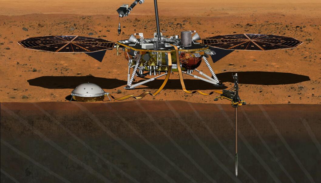 InSight skal blant annet måle ørsmå bevegelser i overflata på Mars. Målet er å finne ut mer om hvordan planeten ble dannet.  (Illustrasjon: NASA/JPL-Caltech)