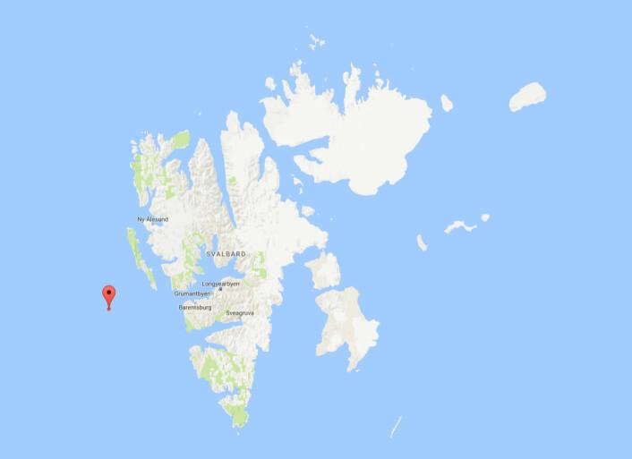 """Det første trålhalet vart tatt på 77 grader og 59.94 minutter nord og 09 grader 29.54 minutter øst. """"Helmer Hanssen"""" opererer i eit område med dårleg satellittsamband. Difor er det vanskeleg å få overført bilete frå Polhavstoktet. (Foto: (Kart: Googlemaps))"""