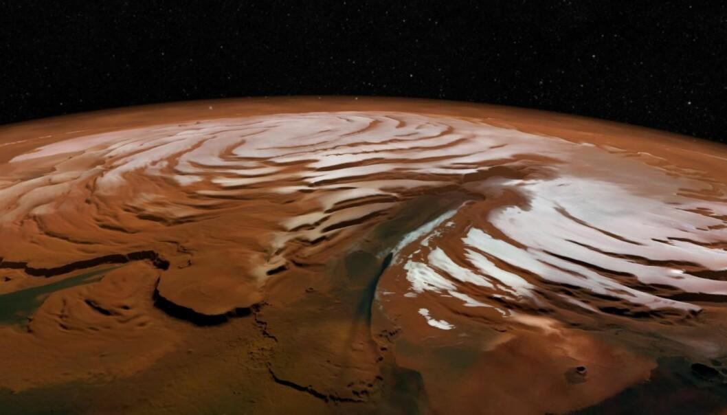 Sand- og islagene inneholder en historisk oversikt over klimaet på Mars. Islagene er som ringene på et tre, og viser vekst og tilbaketrekning gjennom tidene. (Bilde: SA/DLR/FU Berlin; NASA MGS MOLA Science Team)