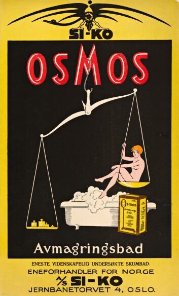 Avmagringsbadet fra 1928 fra Si-Ko A/S var tidens eneste vitenskapelige undersøkete skumbad, ifølge reklamen. (Foto: Nasjonalbiblioteket)