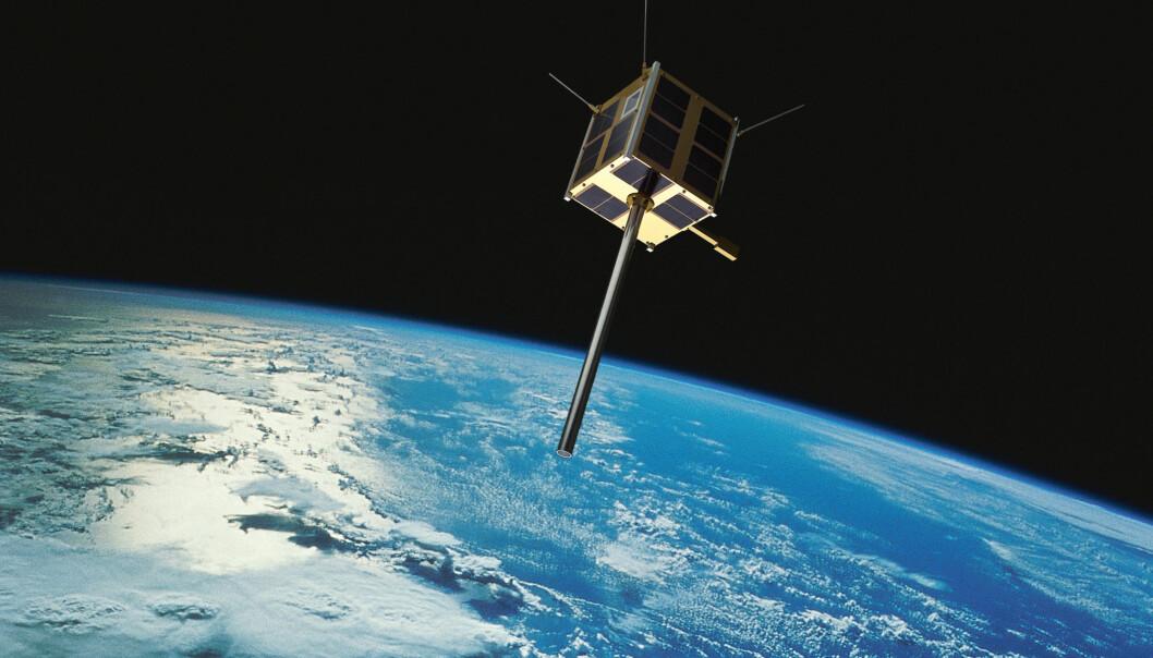 AISSat-2, Norges andre nasjonale satellitt, ble skutt opp 8. juli 2014. Analyser av store mengder data fra satellitten brukes for å avdekke mønstre i skipstrafikken som avviker fra normalen. (Illustrasjon: Norsk Romsenter/FFI/NASA)