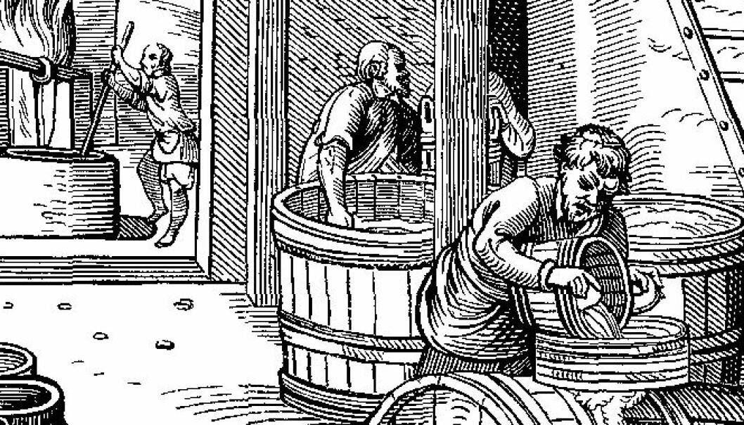 Et ølbryggeri på 1600-tallet.  (Bilde: Jost Amman)