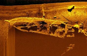 Et sonarbilde av «Figaro», et vrak på bunnen av Trygghamna på rundt 30 meters dyp. (Foto: Øyvind Ødegård, NTNU)