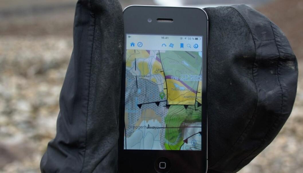 Slik ser løsningen ut på en mobil. (Foto: Norsk polarinstitutt)