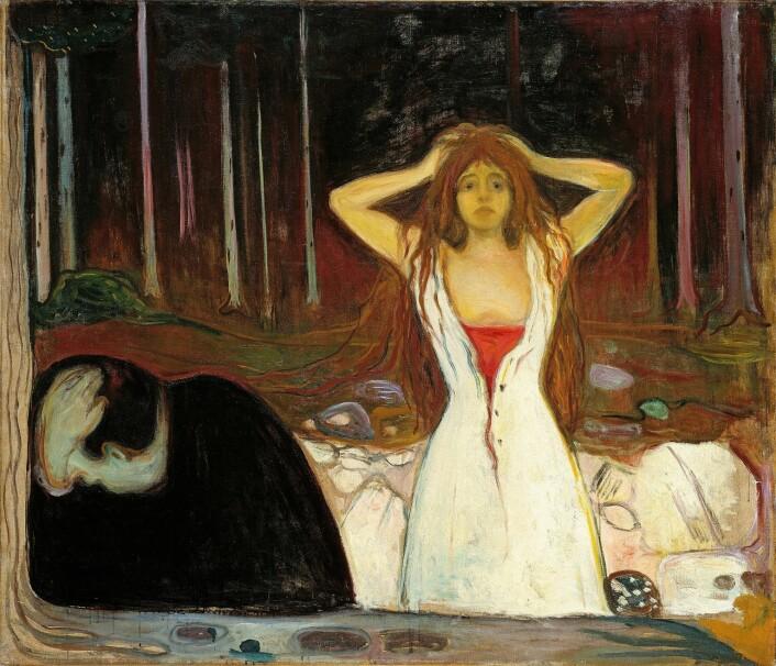 Klikk bildet for å se det på Nasjonalgalleriets hjemmeside. Maleriet «Aske» av Edvard Munch, fra Nasjonalmuseet. Her er avviket sterkt uttrykt i det billedlige. Kvinna uttrykker […] fortvilelse, men også makt og seier, mens mannen sitter avvisende med hodet i hendene. Vi har kommet over mange slike skjebner i tellingene. Lisensiert til fri bruk. Oppløsning: 4000×3431 piksler Fotolisens: Fri ikke-kommersiell bruk (CC-BY-NC) (Foto: Nasjonalmuseet / Lathion, Jacques)